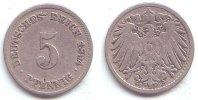 Kaisereich 5 Pfennig Kursmünze, großer Adler