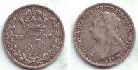 Großbritannien 3 Pence Victoria (1837 - 1901) - mit Schleier