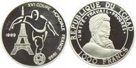 Tschad 1000 Francs Fussball WM 1988 in Frankreich - Fussballer und Eiffelturm