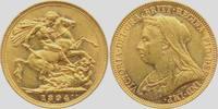 Australien 1 Sovereign Queen Victoria mit Witwenschleier und Diadem