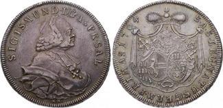 Taler 1764 Geistlichkeit-Salzburg, Erzbistum Sigismund von Schrattenbach 1753-1771. Hübsche Patina. Minimal berieben, fast v