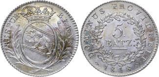 5 Batzen 1818 Schweiz-Bern  Prachtexemplar. Feine Patina. Stempelgla