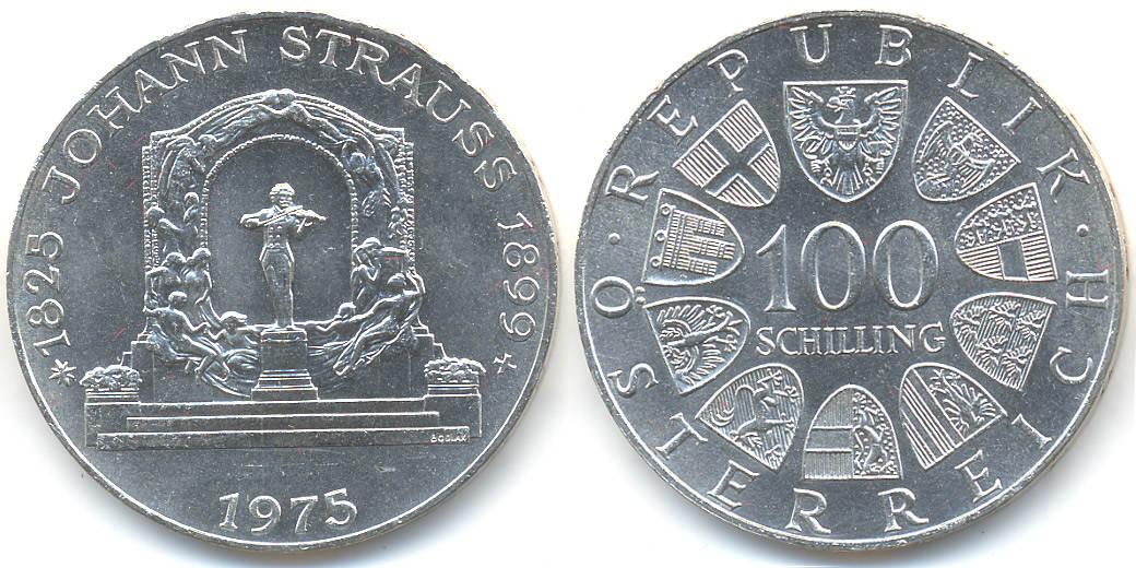 100 Schilling 1975 österreich Austria 2 Republik Ijohann