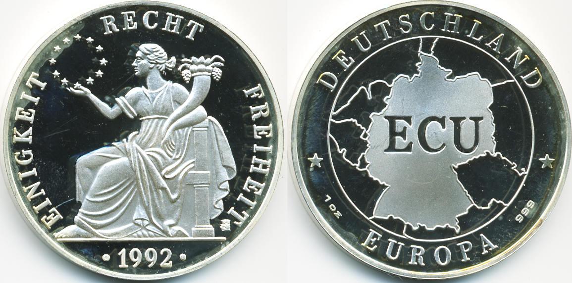 Ecu Silbermedaille 1992 Brd Einigkeit Und Recht Und Freiheit Ex Fb
