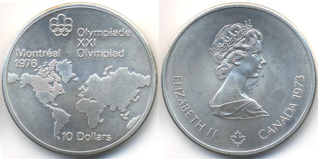 10 Dollars 1973 Kanada Canada Olympiade Montreal 1976 Weltkarte