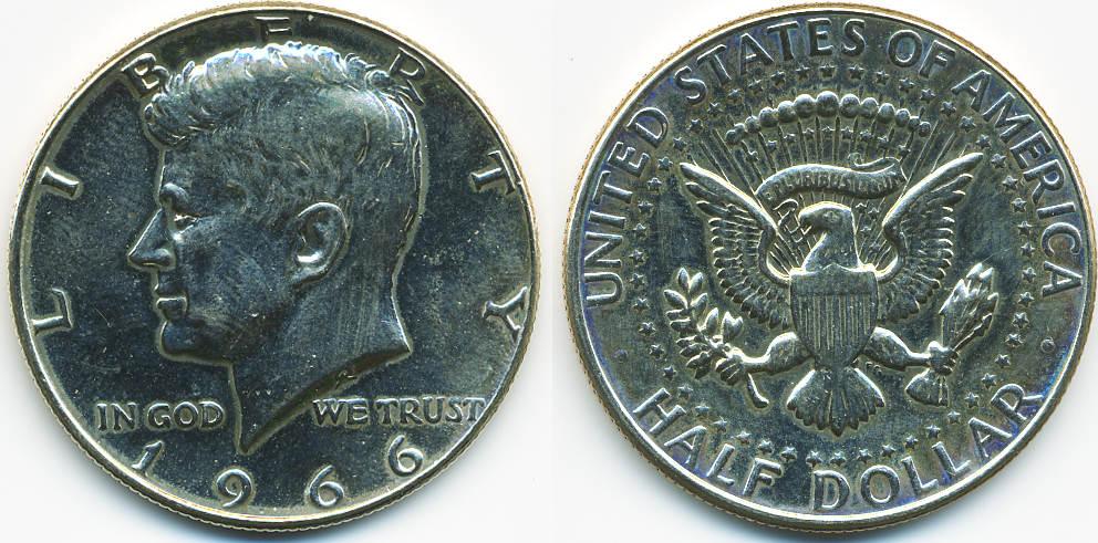 12 Dollar 1966 Usa Kennedy Half Dollar Silber Vorzüglich Leicht