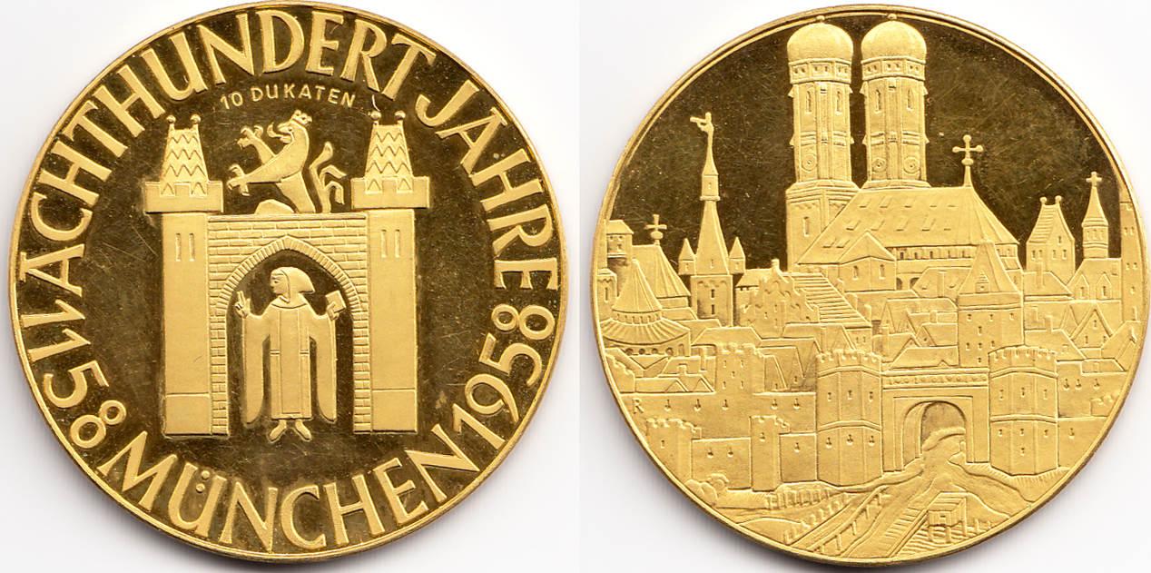 Goldmedaille 1958 Bayern München Medailleur Karl Roth 800 Jahre