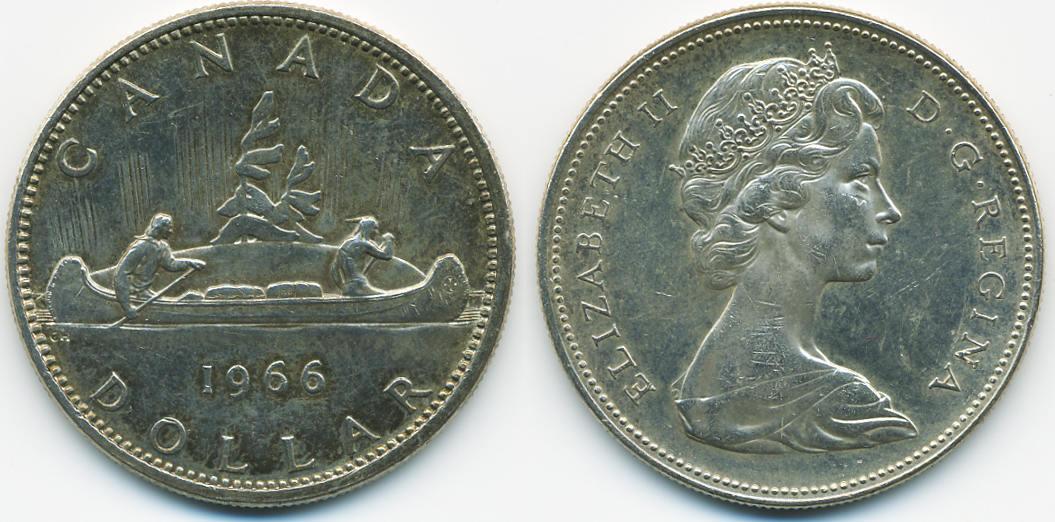 1 Dollar 1966 Kanada Canada Kanu Fast Vorzüglich Ma Shops