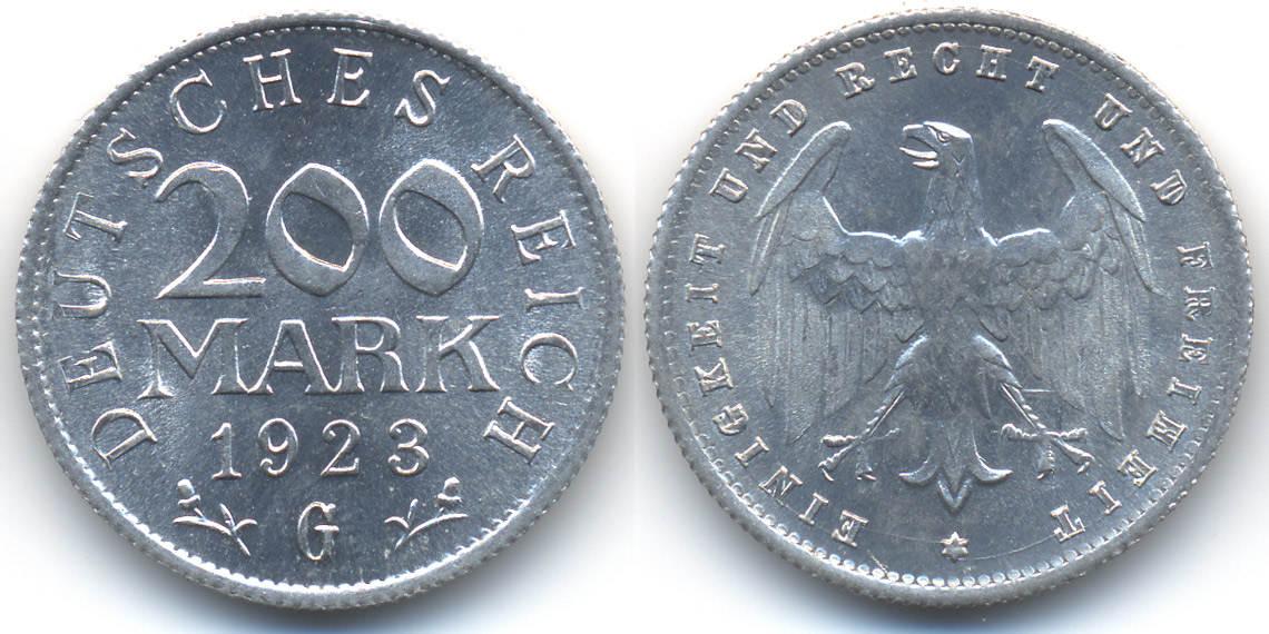 200 Mark 1923 G Weimarer Republik Aluminium Prägefrischstempelglanz