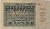 Deutsches Reich Inflation 1919-1924 100 Millionen Mark Rosenberg Nr. 106a – Reichsdruck WZ Eichenlaub