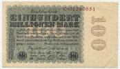Deutsches Reich Inflation 1919-1924 100 Millionen Mark Rosenberg Nr. 106b – Reichsdruck WZ Kreuzblüten