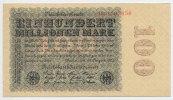 Deutsches Reich Inflation 1919-1924 100 Millionen Mark Rosenberg Nr. 106f – Firmendruck WZ Kreuzblüten KN und FZ rot FZ D