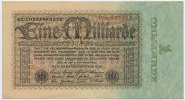 Deutsches Reich Inflation 1919-1924 1 Milliarde Mark Rosenberg Nr. 111b – Firmendruck FZ rot