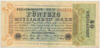 Deutsches Reich Inflation 1919-1924 50 Milliarden Mark Rosenberg Nr. 117b – WZ Hakensterne KN 6stellig