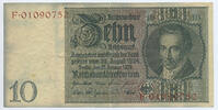 Deutsches Reich Reichsbank 1924-1945 10 Reichsmark Rosenberg Nr. 173c – Kriegsdruck WZ Tulpen ohne Udr.-Bst. Serie F