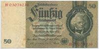 Deutsches Reich Reichsbank 1924-1945 50 Reichsmark Rosenberg Nr. 175d – Kriegsdruck WZ Eichenlaub ohne Udr.-Bst. Serie H