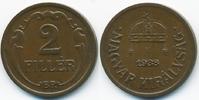 2 Filler 1938 BP Ungarn - Hungary Regierung Horthy 1920-1944 vorzüglich+  1,00 EUR  +  2,00 EUR shipping