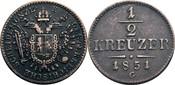 1/2 Kreuzer G, Nagybanya 1851 Habsburg Franz Joseph I., 1848-1916 ss