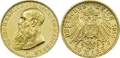 20 Mark 1914 D Kaiserreich Sachsen-Meiningen Herzog Georg II. vz-st aus Erstabschlag