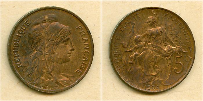 1904 Frankreich FRANKREICH 5 Centimes 1904 vz-st vz-stgl.!