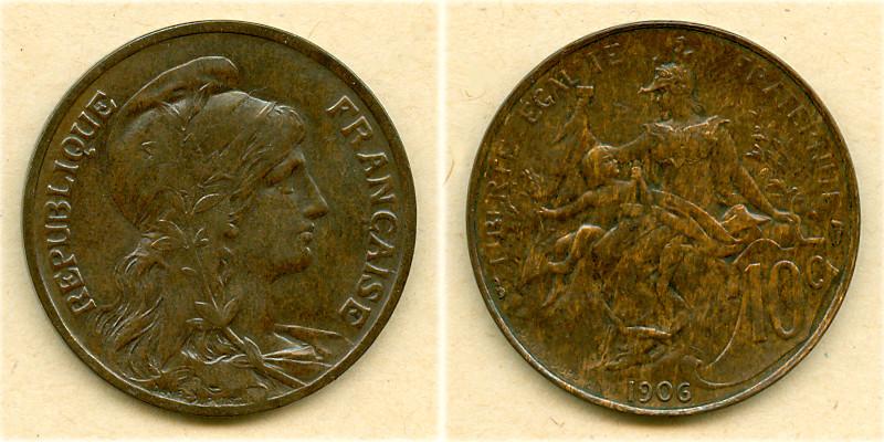 1906 Frankreich FRANKREICH 10 Centimes 1906 f.vz fast vz