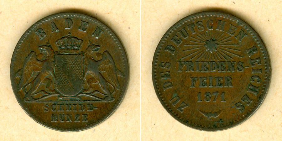 1871 Baden Baden 1 Kreuzer 1871 Siegeskreuzer Friedensfeier ss selten ss