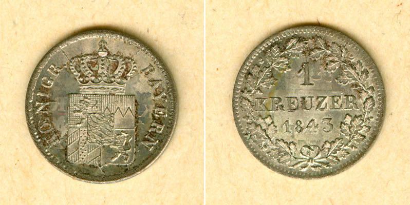 1843 Bayern Bayern 1 Kreuzer 1843 vz-st vz-stgl.!