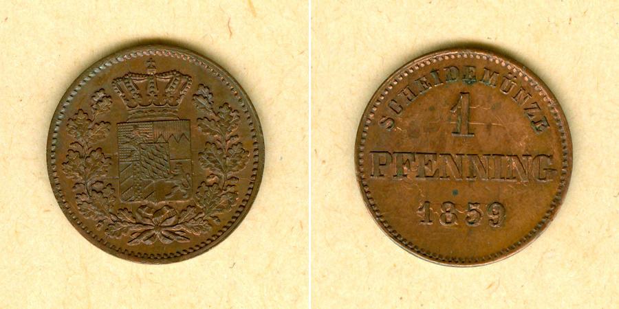 1859 Bayern Bayern 1 Pfennig 1859 vz-st/st VERPRÄGUNG selten vz-stgl./stgl.