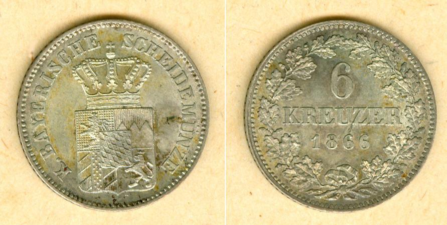 1866 Bayern Bayern 6 Kreuzer 1866 vz-st selten! vz-stgl.