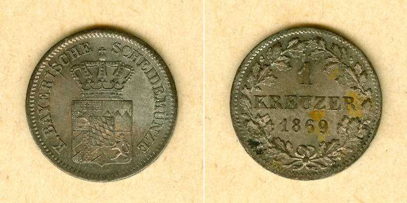 1869 Bayern Bayern 1 Kreuzer 1869 vz-st vz-stgl.