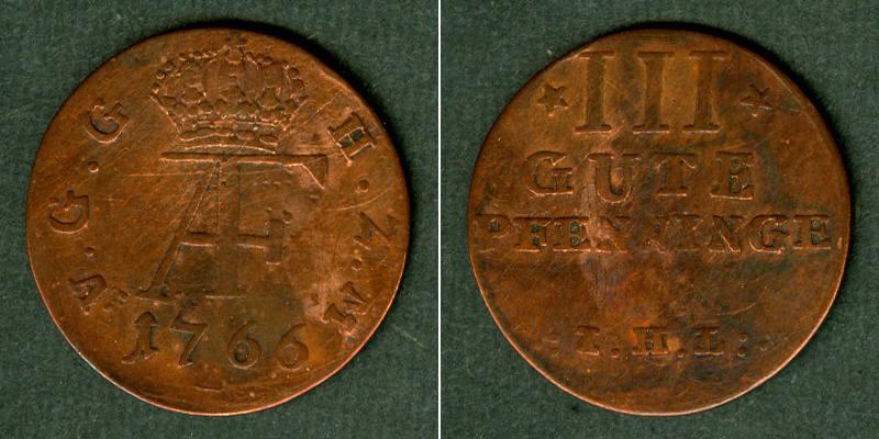 1766 Mecklenburg Mecklenburg Schwerin 3 Pfennige 1766 IHL ss/s-ss ss/s-ss