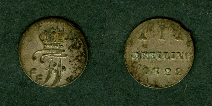 1822 Mecklenburg Mecklenburg Schwerin Dreiling 1822 ss+ selten ss+
