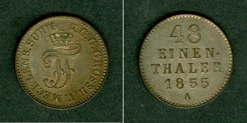 1855 Mecklenburg Mecklenburg Schwerin 1/48 Taler 1855 A vz-st vz-stgl.