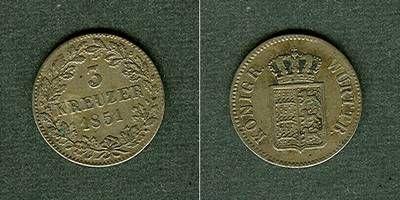 1851 Württemberg Württemberg 3 Kreuzer 1851 ss ss