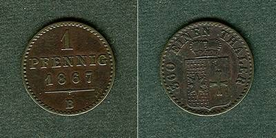 1867 Waldeck Waldeck Pyrmont 1 Pfennig 1867 B ss+/vz ss+/vz