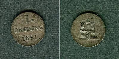 1851 Hamburg Hamburg Dreiling 1851 ss+/f.vz ss+/f.vz
