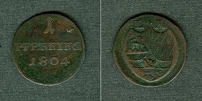 1804 Löwenstein Wertheim Löwenstein Wertheim 1 Pfenning 1804 LM (statt LW) ss selten! ss