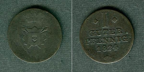 1824 Schaumburg-Lippe Schaumburg Lippe 1 Pfennig 1824 s-ss/ss s-ss/ss