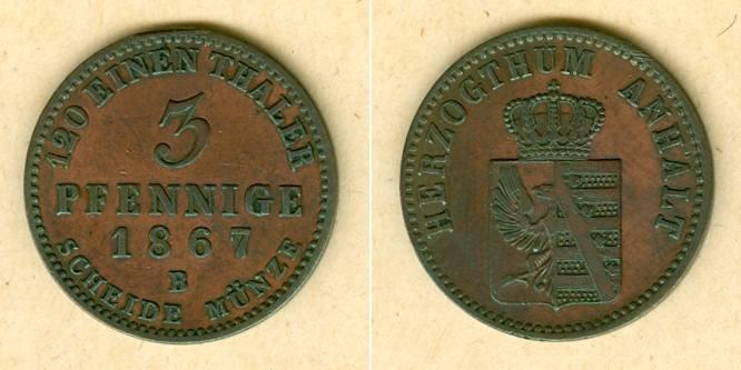 1867 Anhalt Anhalt 3 Pfennige 1867 B vz vz