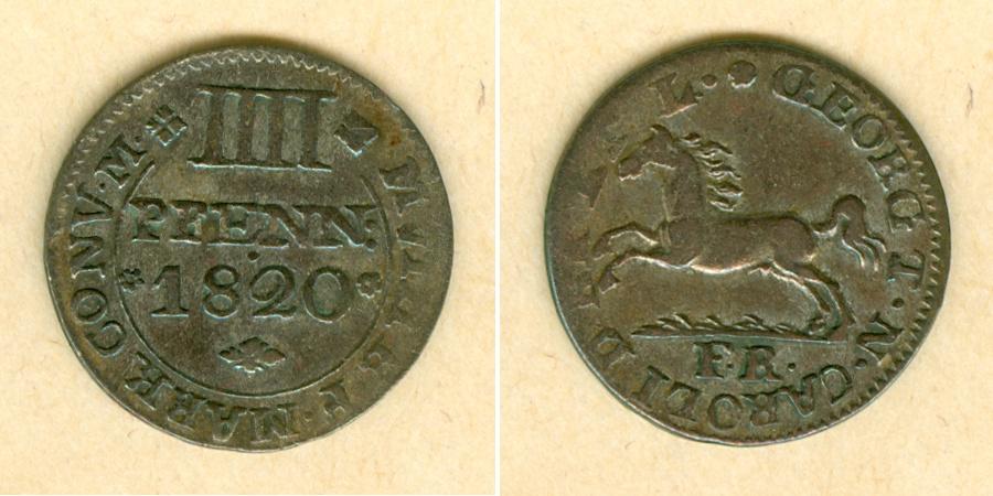 1820 Braunschweig Braunschweig 4 Pfenning 1820 FR ss+ selten! ss+