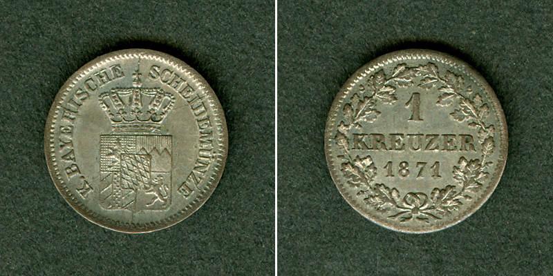 1871 Bayern Bayern 1 Kreuzer 1871 vz-st vz-stgl.