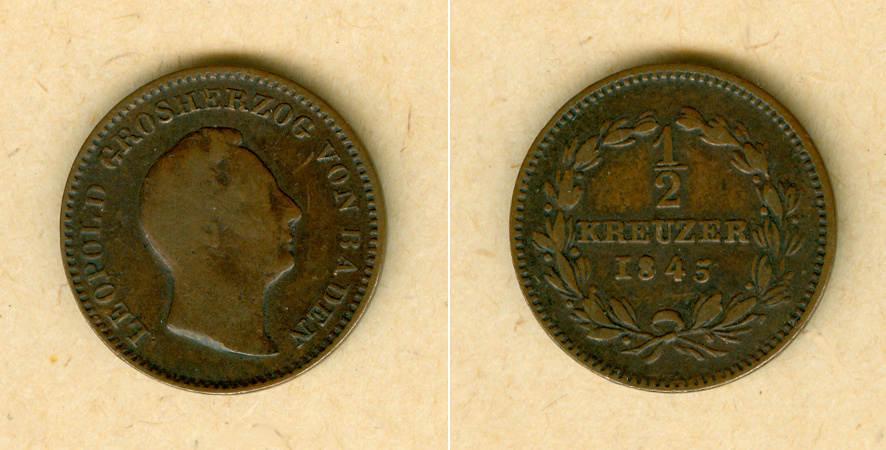 1845 Baden Baden 1/2 Kreuzer 1845 s-ss/ss s-ss/ss