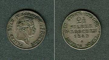 1843 Brandenburg-Preußen Preussen 2 1/2 Silber Groschen 1843 A ss+ ss+