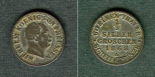 1868 Brandenburg-Preußen Preussen 1/2 Silber Groschen 1868 A ss/ss+ ss/ss+