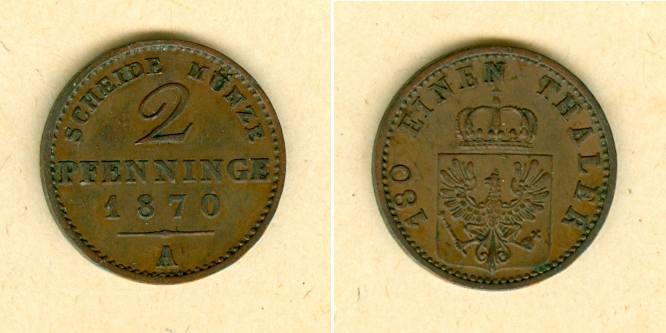 1870 Brandenburg-Preußen Preussen 2 Pfenninge 1870 A vz vz