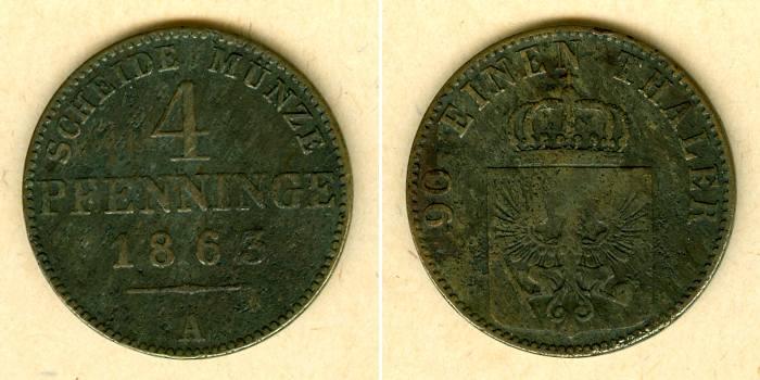 1863 Brandenburg-Preußen Preussen 4 Pfenninge 1863 A s-ss selten s-ss