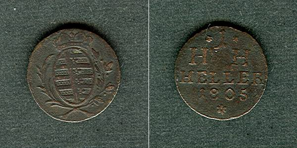 1805 Sachsen-Hildburghausen Sachsen Hildburghausen 1 Heller 1805 ss+ ss+