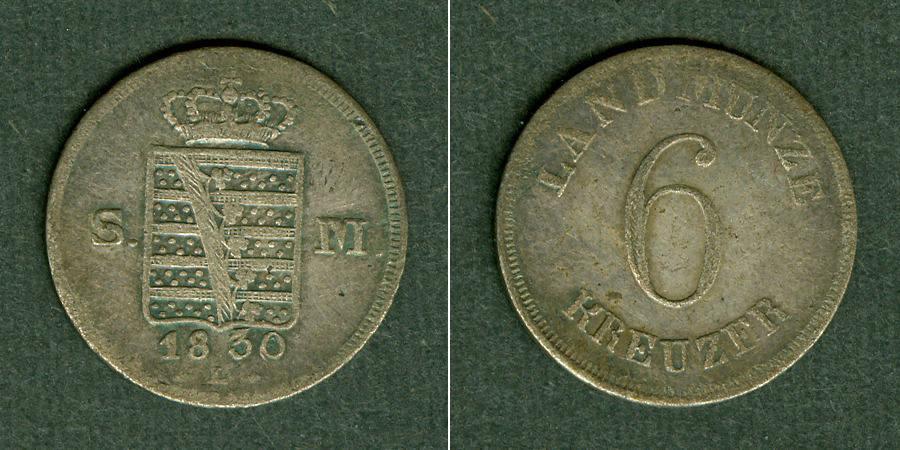 1830 Sachsen-Meiningen Sachsen Meiningen 6 Kreuzer 1830 L ss ss