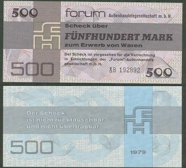 1979 Forum Außenhandelsgesellschaft, Sonstige DDR: Forum-Scheck 500 MARK 1979 Ro.373a I