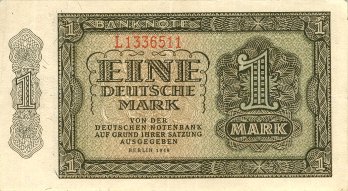 1948 Deutsche Notenbank 1948-1964 DDR: 1 DEUTSCHE MARK 1948 Ro.340a II II